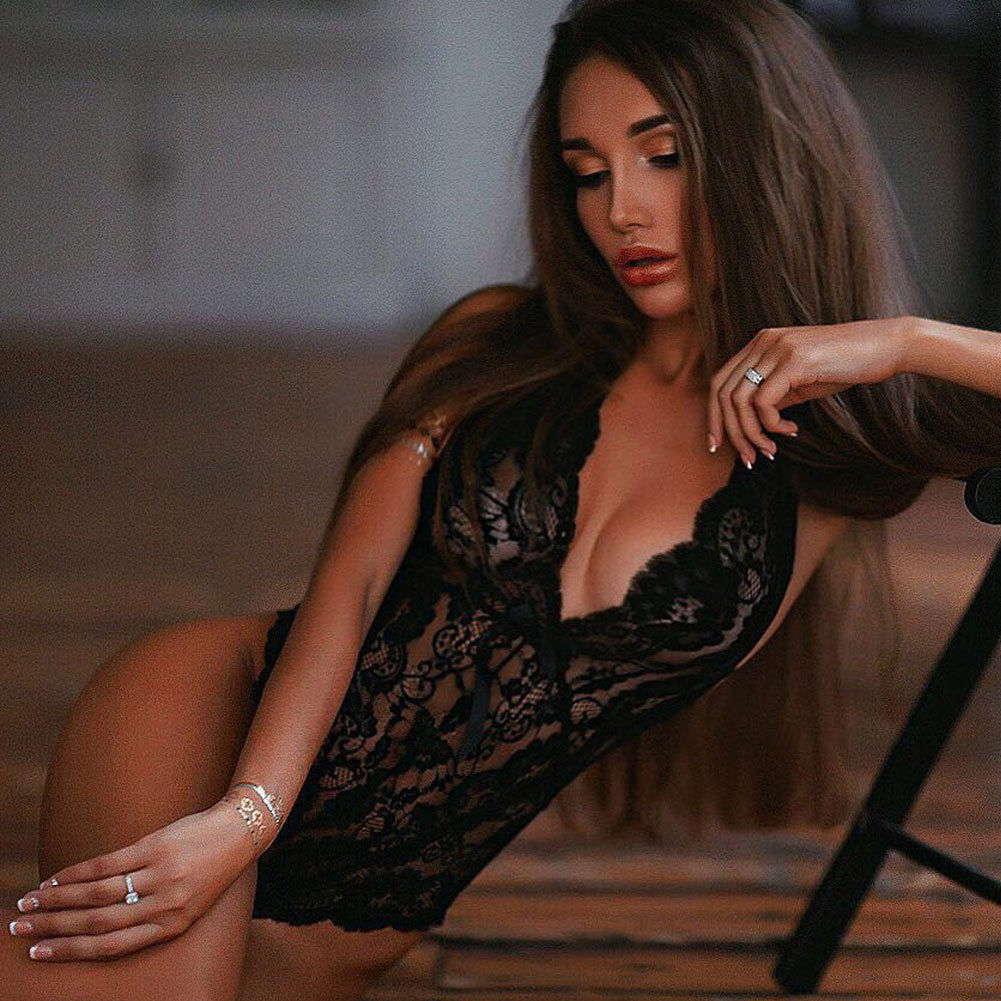 Эротический боди с завязками - черный