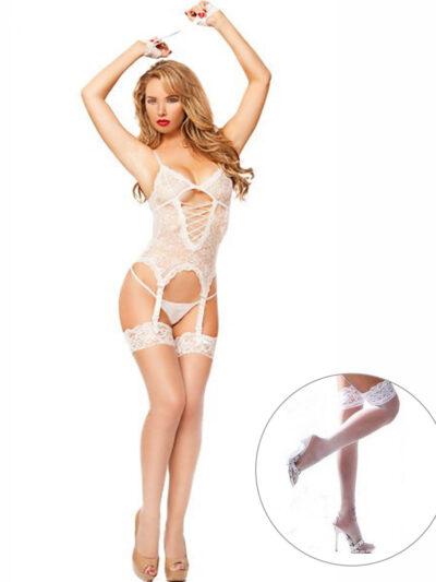 Эротический комплект комбинация и игровые наручники - белый one size