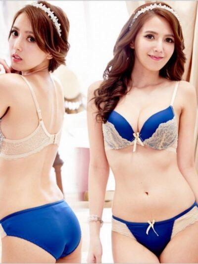 Яркий сексуальный двухцветный комплект - синий с бежевым кружевом