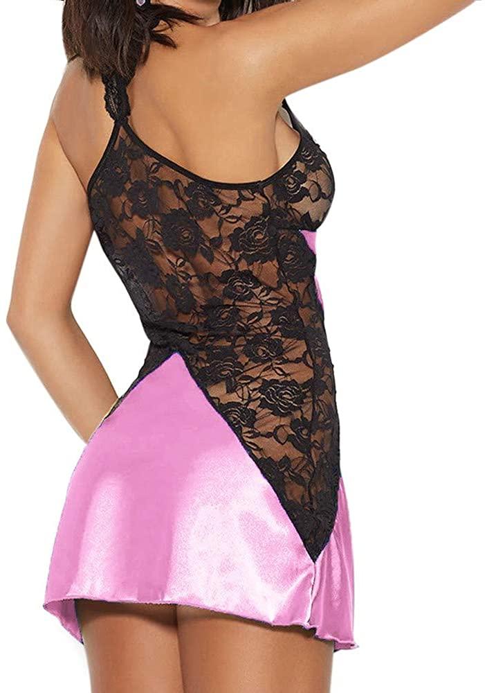 Сексуальный пеньюар с кружевными вставками - розовый