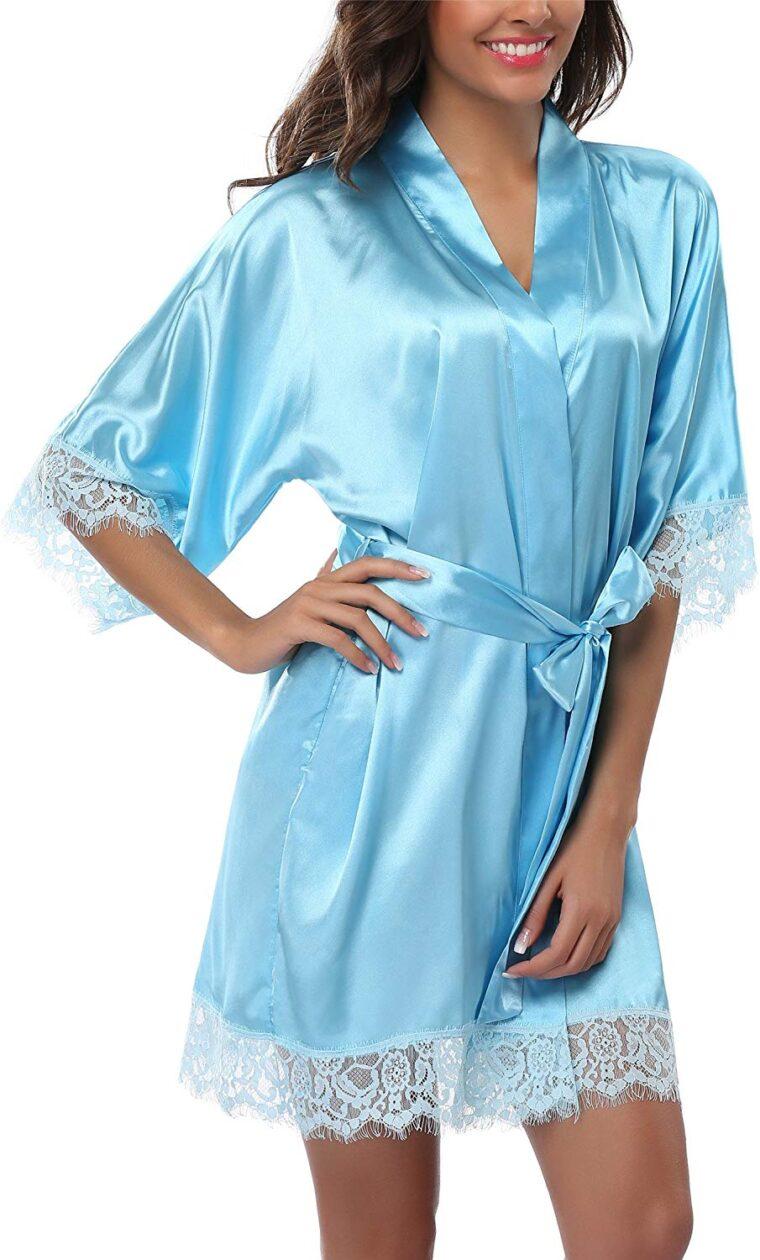 Халат женский атласный - голубой One Size