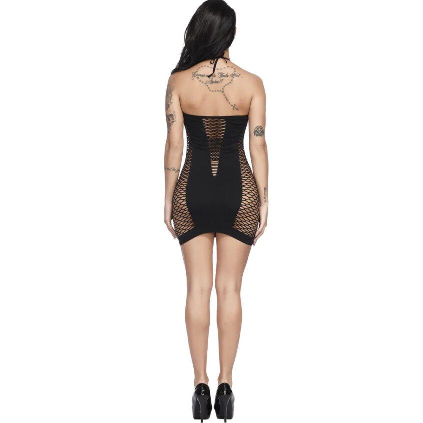 Фишнет платье цветной черный 3