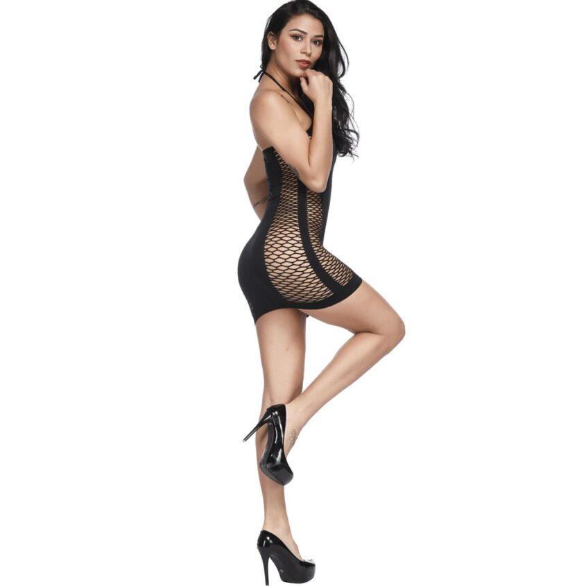 Фишнет платье цветной черный 4