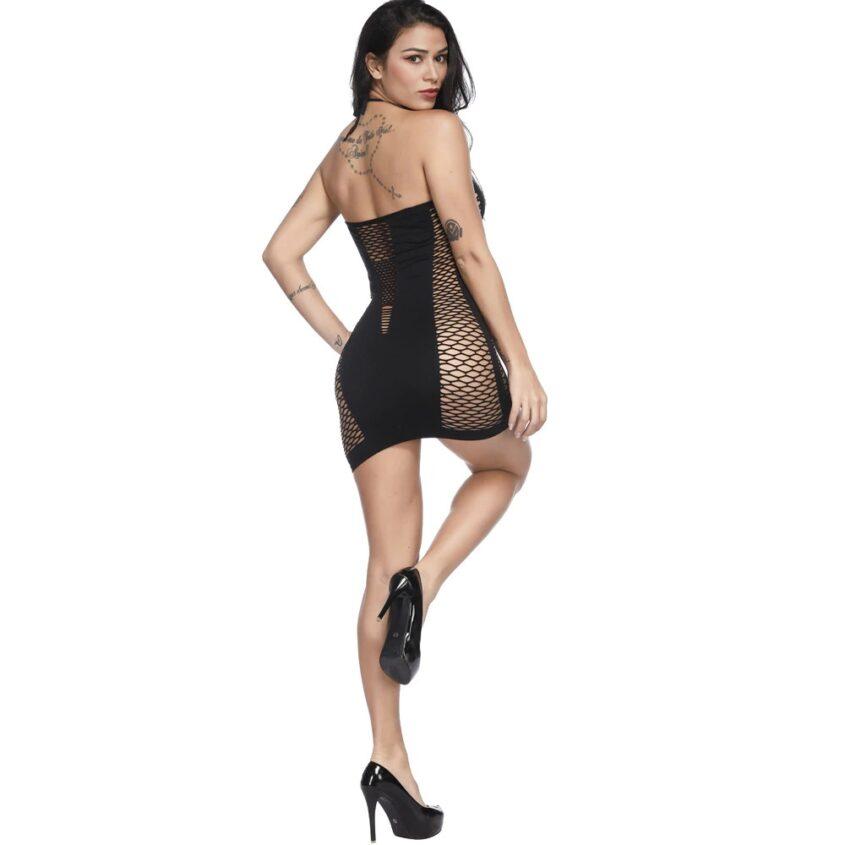 Фишнет платье цветной черный 5