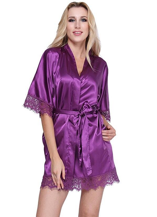 Женский халат атласный - фиолетовый One Size