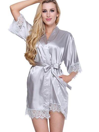 Соблазнительный атласный халат - серебристый One Size