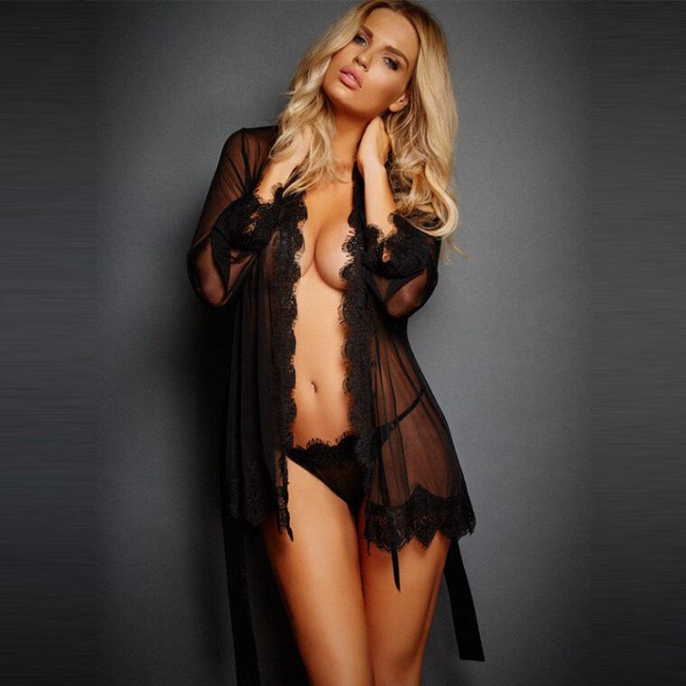 Соблазнительный полупрозрачный женский халат - черный