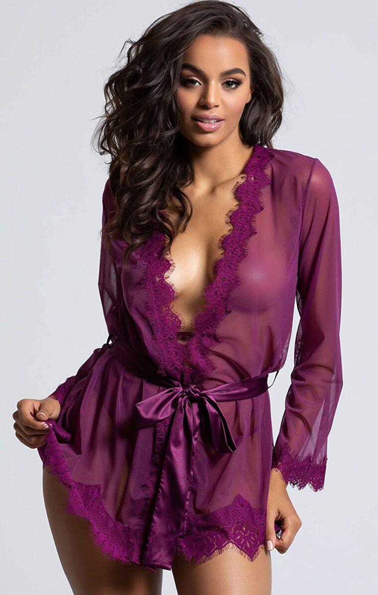 Халат женский полупрозрачный - фиолетовый