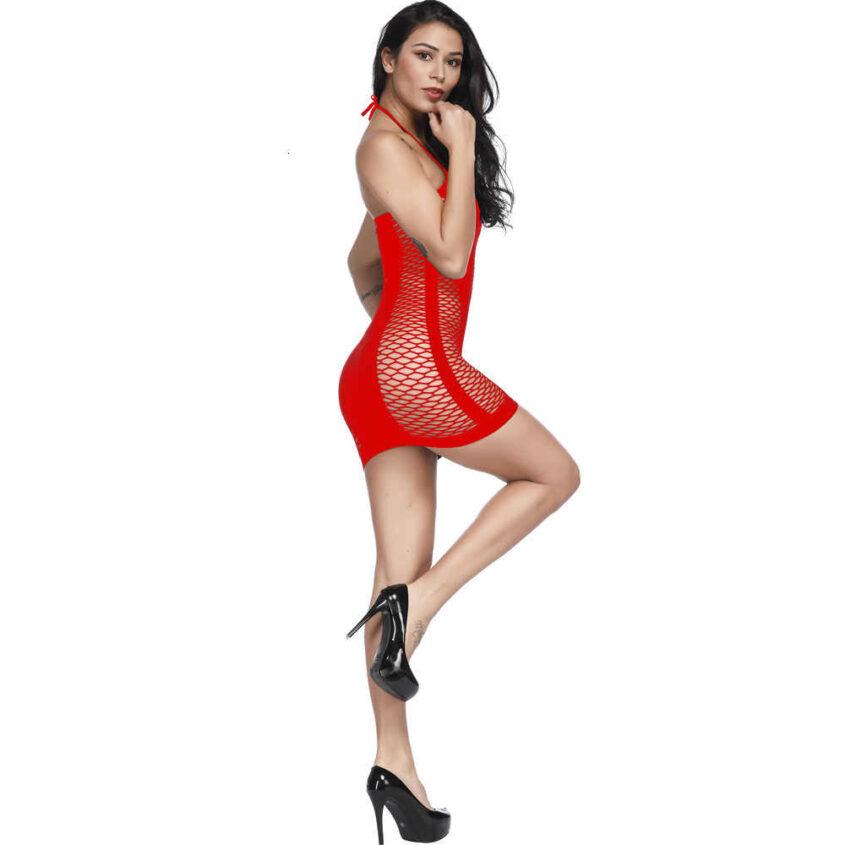 бодистокинг платье сетка - красный 1