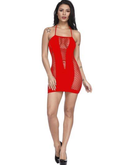 Соблазнительный бодистокинг платье сетка - красный