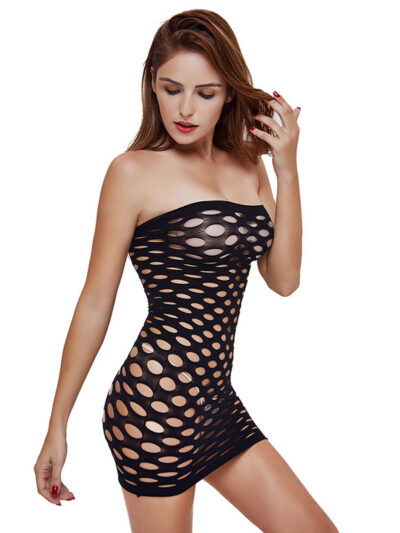 Эротический бодистокинг платье-сетка - чёрный