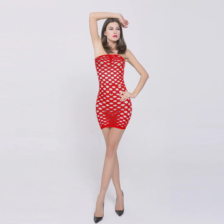 Эротический бодистокинг платье-сетка - красный
