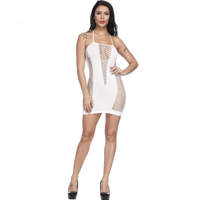 Соблазнительный бодистокинг платье сетка - белый