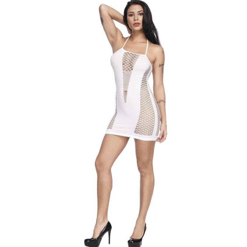 Фишнет платье цветной белый