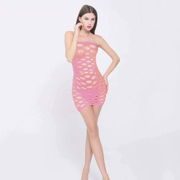 Эротический бодистокинг платье-сетка - розовый