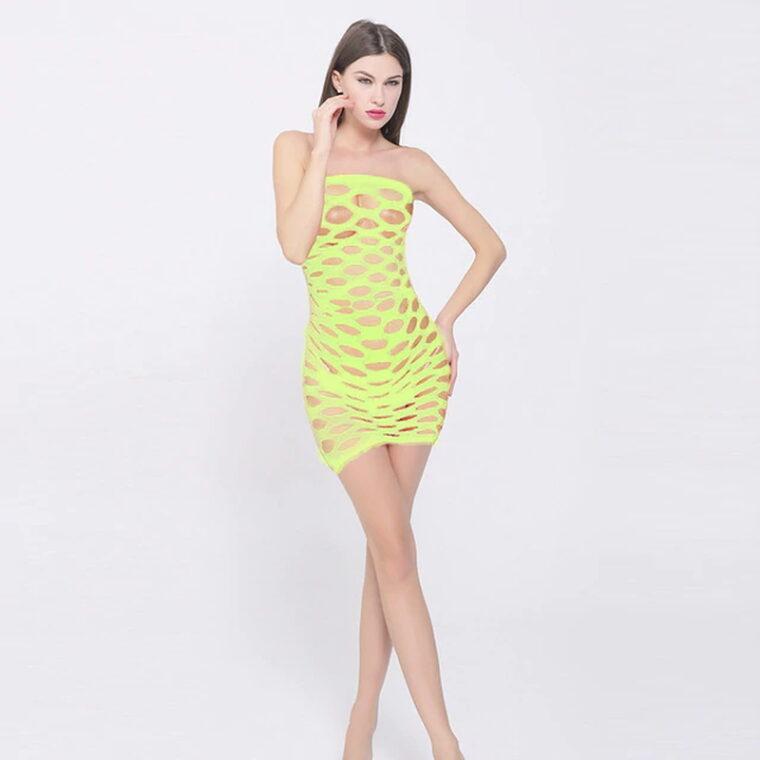 Эротический бодистокинг платье-сетка - жёлтый
