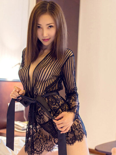 Стильный и сексуальный полупрозрачный халат в полоску - чёрный