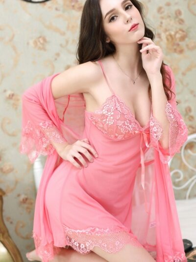 Соблазнительный полупрозрачный комплект халат и пеньюар - розовый