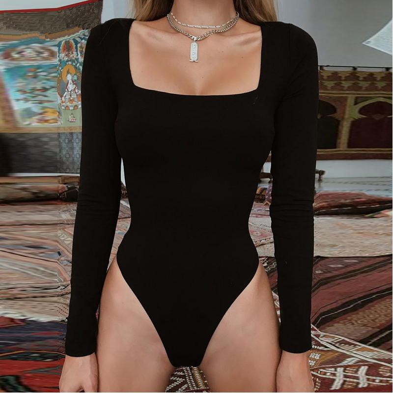 Сексуальный облегающий боди комбидресс с квадратным вырезом - чёрный