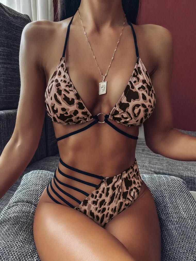 Стильный сексуальный купальник с ассиметричным дизайном - леопардовый