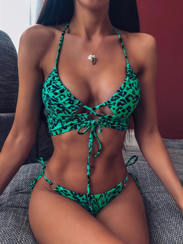 Стильный и сексуальный леопардовый купальник - зелёный