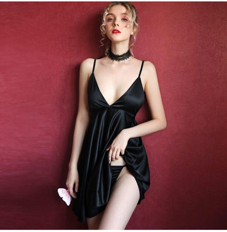 Соблазнительный пеньюар-платье с крыльями - чёрный