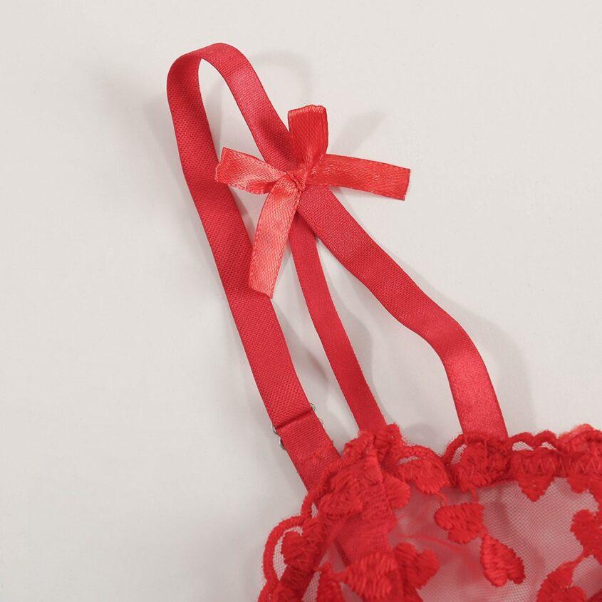 Соблазнительный полупрозрачный комплект с сердечками - красный
