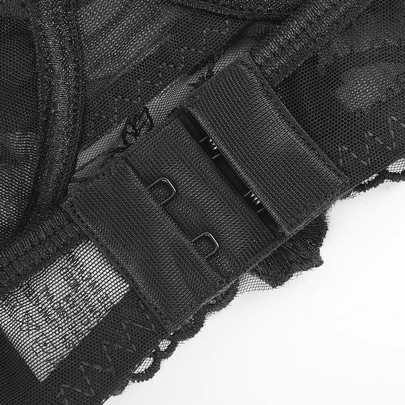 Соблазнительный полупрозрачный комплект с вышивкой - черный