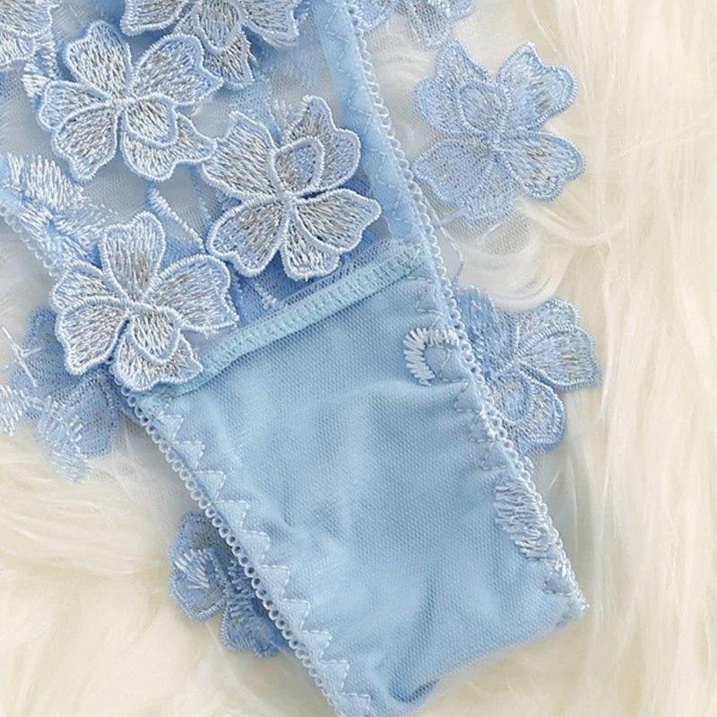 Эротический прозрачный комплект с цветами - голубой