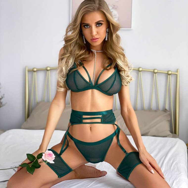 Сексуальный комплект с поясом и резинками - зелёный