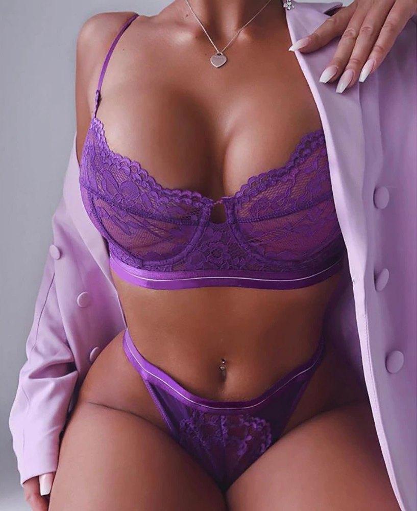 Яркий сексуальный кружевной комплект - фиолетовый