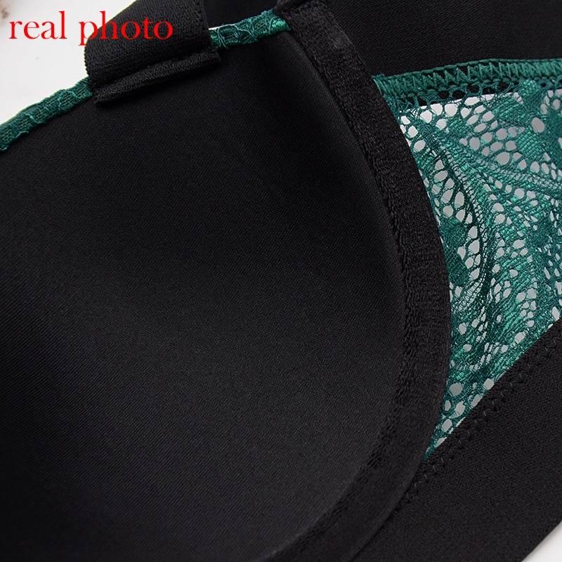Соблазнительный двух-цветный комплект с кружевом - зелёный/чёрный