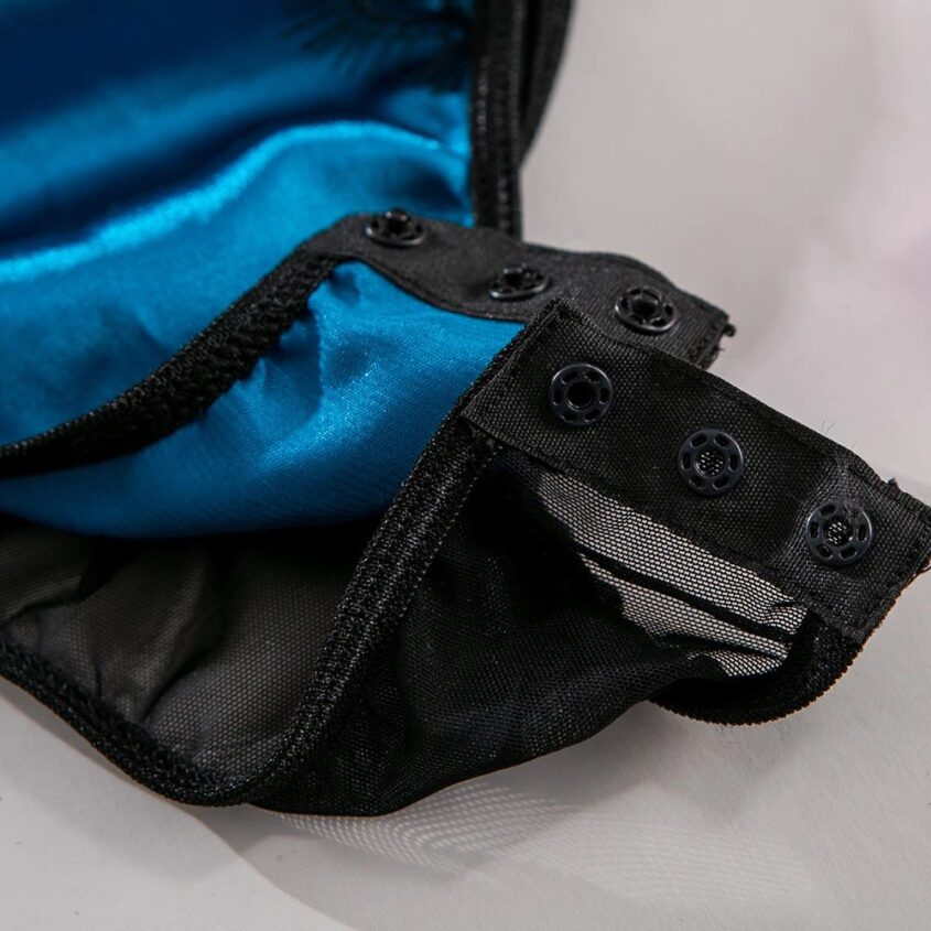 Стильный двух-цветный боди со стрепами - синий/чёрный