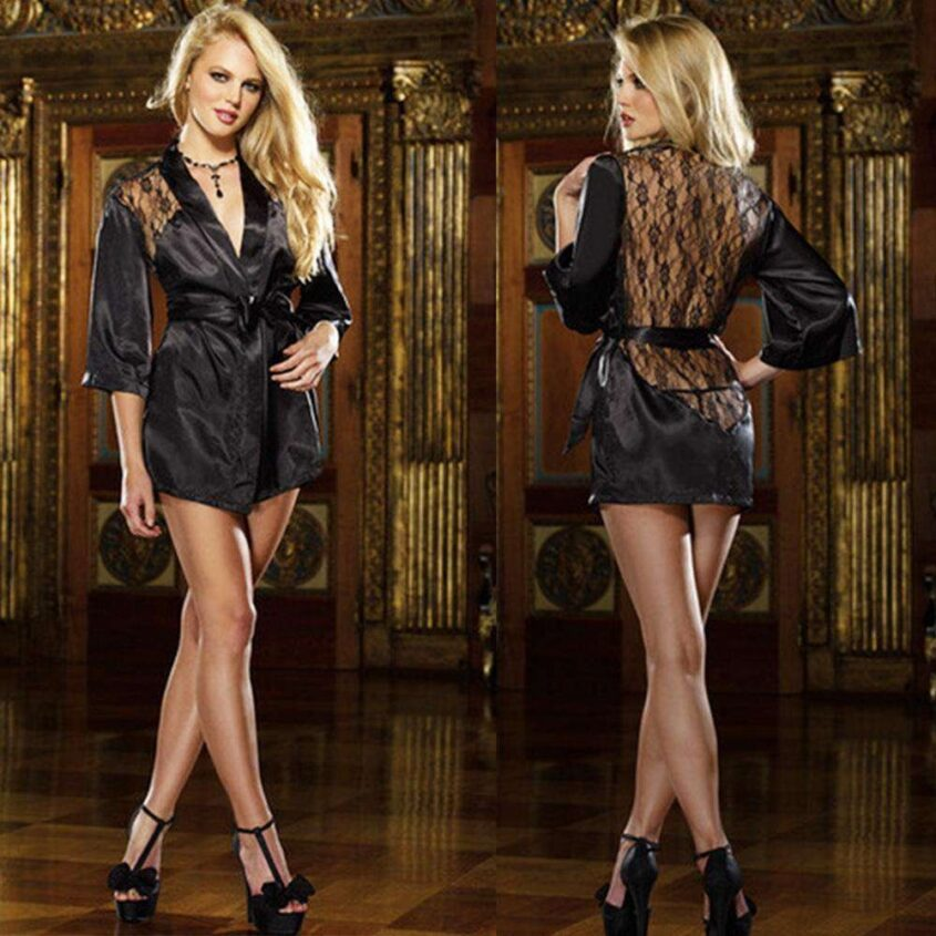 Женский атласный халат с прозрачной спинкой - черный One Size
