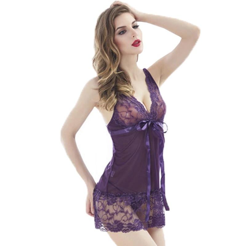 Соблазнительный полупрозрачный пеньюар - фиолетовый