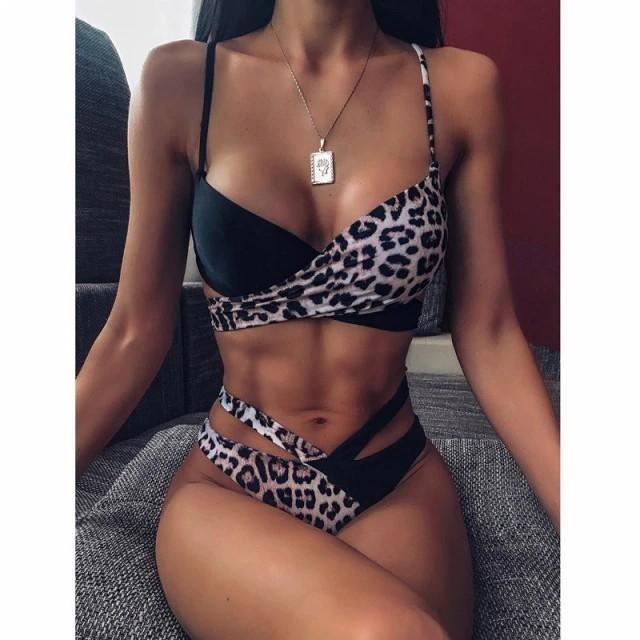 Сексуальный купальник с леопардовым принтом- чёрный/леопардовый