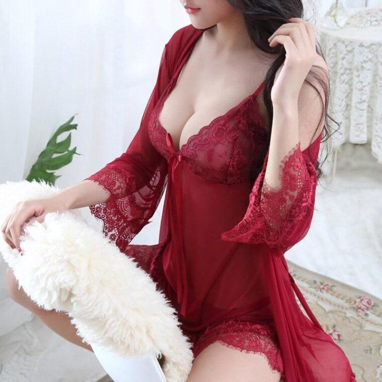 Соблазнительный полупрозрачный комплект халат и пеньюар - бордовый