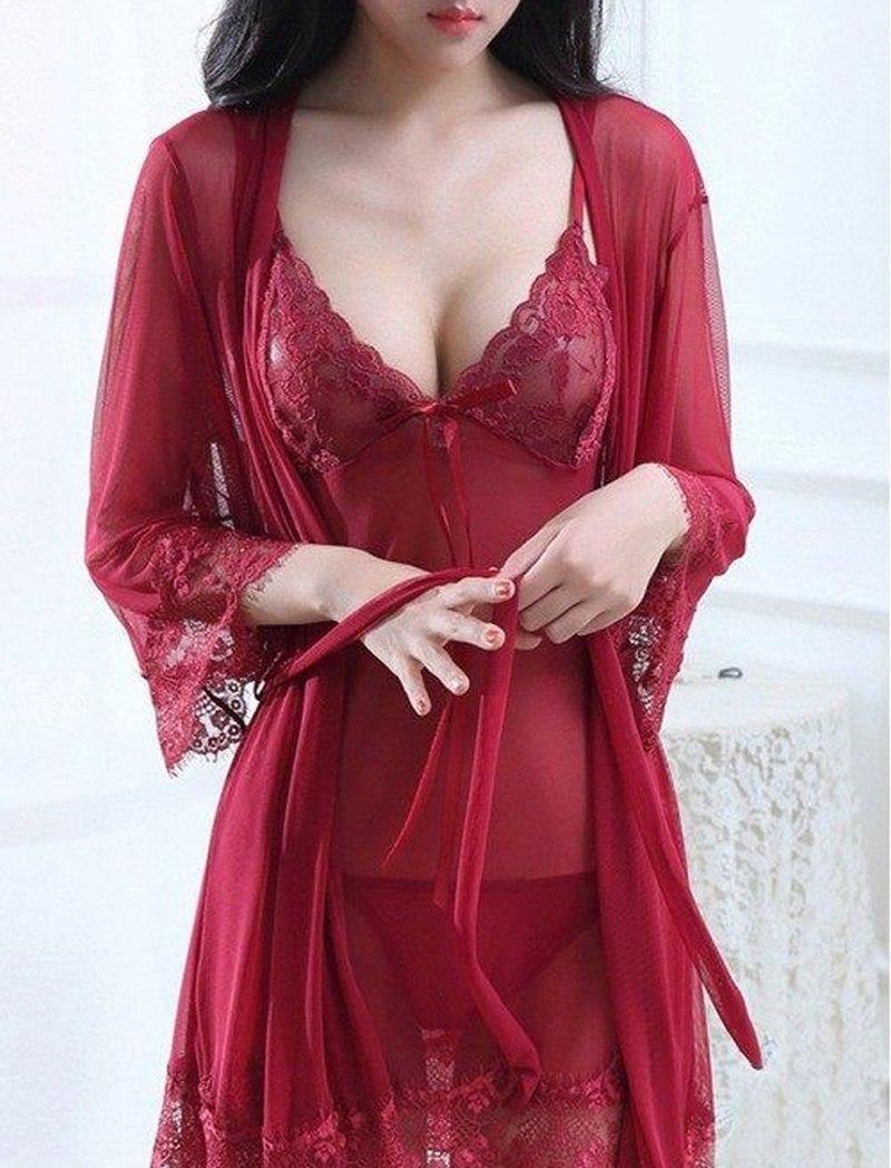 Пеньюар з халатом кольори бордовий 2