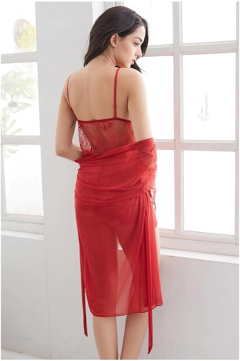 Пеньюар з халатом стрепи кольори червоний 2