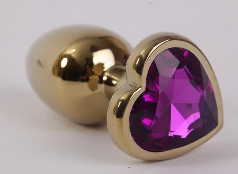 Анальная пробка Gold Metal Heart Dark Violet, S 2