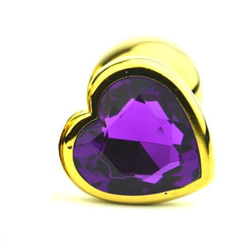Анальная пробка Gold Metal Heart Dark Violet, S