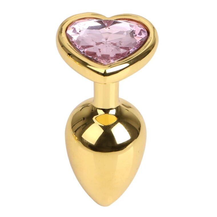 Анальная пробка с камушком Gold Metal Heart Pink- золотистый (820139)