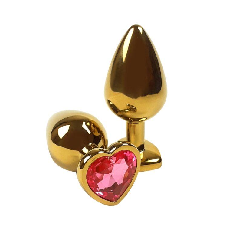 Анальная пробка с камушком Gold Metal Heart Red - золотистый (820138)