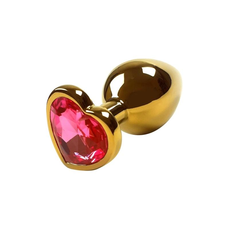Анальная пробка Gold Metal Heart Red, M 4