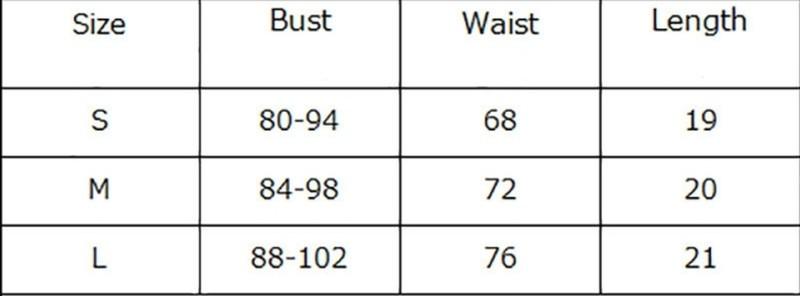 Корсет талія таблиця